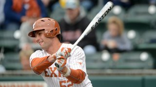 Texas Longhorns infielder Zach Zubia takes a swing during game against the Boise State Broncos on February 23, 2020 at UFCU Disch-Falk Field in Austin, Texas.