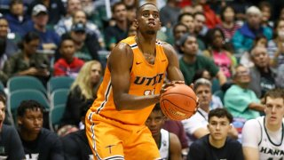 Bryson Williams #11 of the UTEP Miners lines up a shot during the first half of the game against the Hawaii Rainbow Warriors at the Stan Sheriff Center on December 22, 2019 in Honolulu, Hawaii.