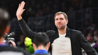Dirk Nowitzki attends a basketball game between the Los Angeles Lakers and the Dallas Mavericks at Staples Center on Dec. 1, 2019 in Los Angeles, California.