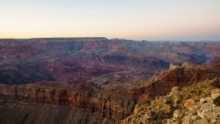 High Dynamic Range picture of the sunset at Lipan Point at the south rim of the Grand Canyon on Jan. 9, 2021 in Grand Canyon Village, Arizona.