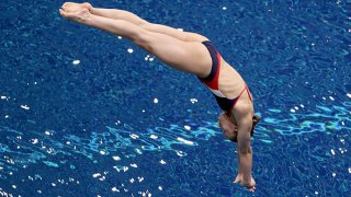 Hailey Hernandez competes in the women's 3-meter springboard final during 2021 U.S. Olympic Trials - Diving - Day 7 at Indiana University Natatorium on June 12, 2021 in Indianapolis, Indiana.