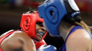 Team USA's Oshae Jones stares down Brianda Cruz of Mexico