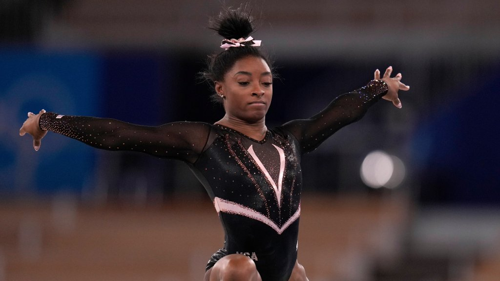 Simone Biles does a stance
