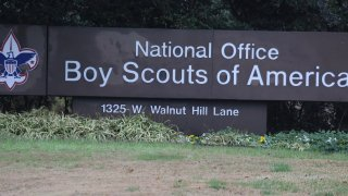 Shown is the Boys Scouts of America headquarters in Irving, Texas, Wednesday, Feb. 12, 2020.