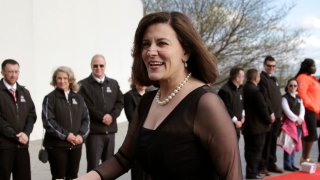 FILE - In this May 7, 2017 file photo, Victoria Reggie Kennedy, widow of Sen. Edward M. Kennedy, arrives at the John F. Kennedy Presidential Library and Museum before the 2017 Profile in Courage award ceremonies. President Joe Biden is nominating the widow of Sen. Ted Kennedy to serve as his ambassador to Austria Kennedy, an attorney and a gun control advocate, came to know Biden during the years he served with her husband in the Senate.