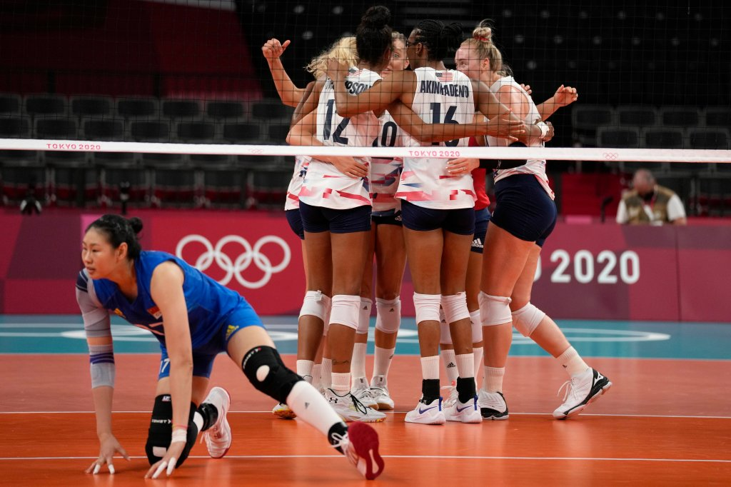 United States teammates observe  during the women's volleyball preliminary circular  excavation  B lucifer  betwixt  China and United States astatine  the 2020 Olympics connected  July 27, 2021, successful  Tokyo, Japan.