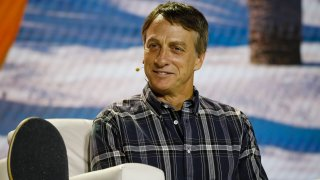 Tony Hawks speaks at a conference