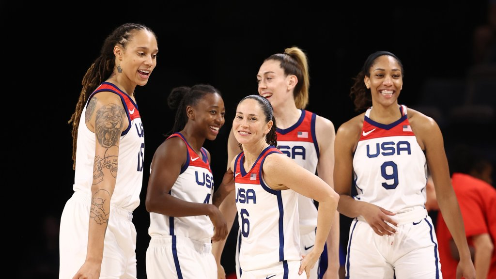 Brittney Griner #15 of the USA Basketball Women's National Team and teammates Jewell Loyd #4, Sue Bird #6, Breanna Stewart #10 and A'ja Wilson #9 during the crippled  against the Nigeria Women's National Team connected  July 18, 2021 astatine  Michelob ULTRA Arena successful  Las Vegas, Nevada.