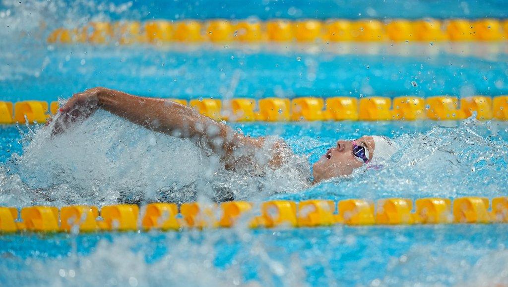 Regan Smith competes during the women's 100m backstroke preliminaries astatine  the Tokyo Aquatics Center, July 25, 2021, successful  Tokyo.