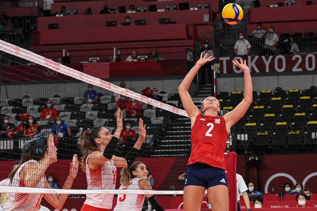 USA's Jordyn Poulter hits the ball in the women's preliminary round pool B volleyball match between USA and Turkey during the Tokyo 2020 Olympic Games at Ariake Arena in Tokyo, Japan on July 29, 2021.
