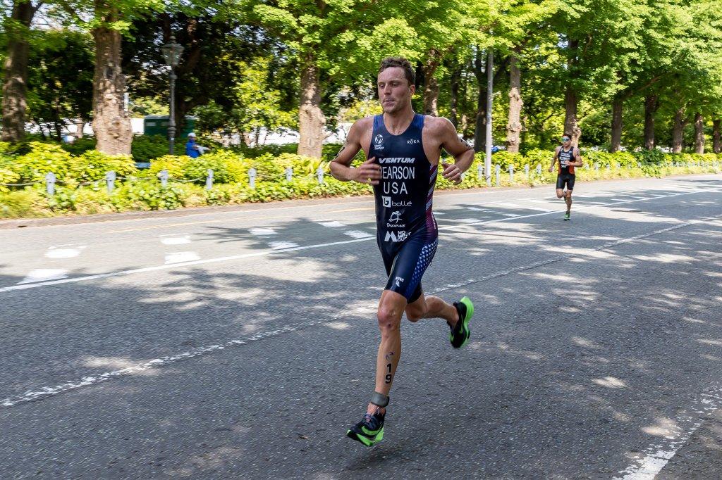 Morgan Pearson (bronze medal) of USA competes during the Elite Men lawsuit   of the ITU World Triathlon Championship Series Yokohama connected  May 15, 2021 successful  Yokohama, Kanagawa, Japan.