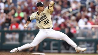 Jack Leiter #22 of the Vanderbilt Commodores pitches in the fourth inning during game one of the College World Series Championship against the Mississippi St. Bulldogs at TD Ameritrade Park Omaha on June 28, 2021 in Omaha, Nebraska.