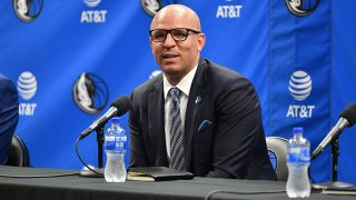 Head Coach Jason Kidd address the media during the Dallas Mavericks Press Conference on July 15, 2021 at the American Airlines Center in Dallas, Texas.