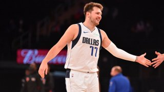 FILE: Luka Doncic #77 of the Dallas Mavericks reacts during a game against the New York Knicks on April 2, 2021 at Madison Square Garden in New York City, New York.