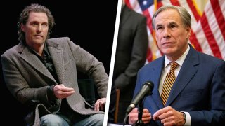 """LEFT: Matthew McConaughey participates in a Q&A after a special screening of his new film """"The Gentlemen"""" at Hogg Memorial Auditorium at The University of Texas at Austin on January 21, 2020 in Austin, Texas. RIGHT: Texas Governor Greg Abbott speaks at a press conference where Abbott signed Senate Bills 2 and 3 at the Capitol on June 8, 2021 in Austin, Texas."""