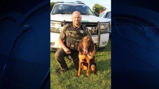 K-9 Deputy Richard Tidwell and Rutherford County sheriff's bloodhound Fred.