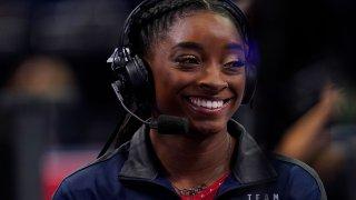 Simone Biles smiles during interview