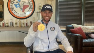 """Vincent Hancock is back home in Benbrook after """"such a cool experience"""" winning gold in Tokyo in skeet shooting."""