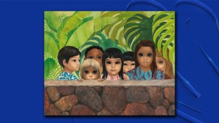 Artist Margaret Keane was living in Honolulu in 1972 when she painted the work, known as Eyes Upon You, which depicted seven children looking out from behind a stone wall. The painting was stolen in 1972 and is now being returned to its original owners.