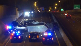 A multi-vehicle crash Saturday night injured one person and shut down the northbound lanes of the Dallas North Tollway, officials say.
