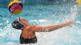 Madeline Musselman of the United States attempts to control the ball during a preliminary match between Hungary and the United States.
