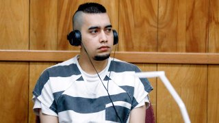 FILE - In this July 15, 2021, file photo, Cristhian Bahena Rivera appears during a hearing at the Poweshiek County Courthouse in Montezuma, Iowa. Bahena Rivera was convicted of killing University of Iowa student Mollie Tibbetts in 2018. The lead investigator in the death, Division of Criminal Investigation agent Trent Vileta expressed confidence Tuesday, July 27, 2021, that the rightman was convicted, rejecting defense claims that her abduction could be tied toother local criminal suspects.