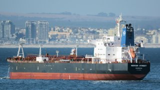 the Liberian-flagged oil tanker Mercer Street off Cape Town, South Africa