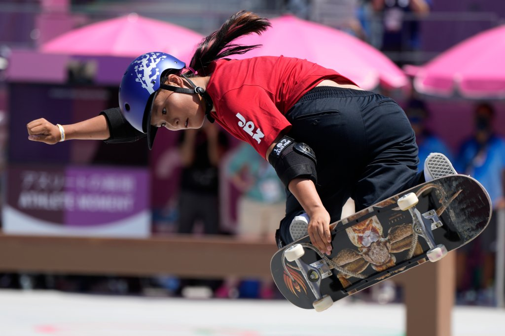 Sakura Yosozumi of Japan competes in the women's park skateboarding finals at the 2020 Olympics, Wednesday, Aug. 4, 2021, in Tokyo, Japan.
