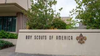 Sign with logo for Boy Scouts of America in the Silicon Valley, Foster City, California, April 11, 2020.