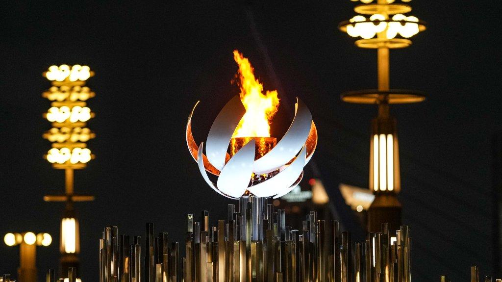 The Olympic flame burns on the cauldron at Ariake Yume-no-Ohashi Bridge, July 29, 2021, in Tokyo, Japan.