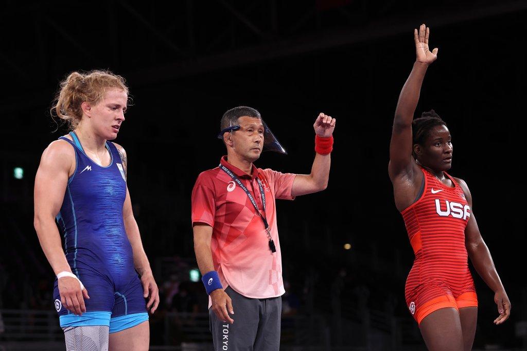 Tamyra Mensah-Stock of Team USA celebrates after defeating Alla Cherkasova