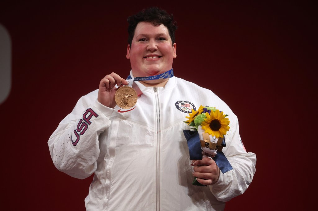 Bronze medalist Sarah Elizabeth Robles of Team United States poses with the bronze medal during the medal ceremony for the Weightlifting - Women's 87kg+ Group A on day 10 of the Tokyo 2020 Olympic Games at Tokyo International Forum on Aug. 2, 2021, in Tokyo, Japan.