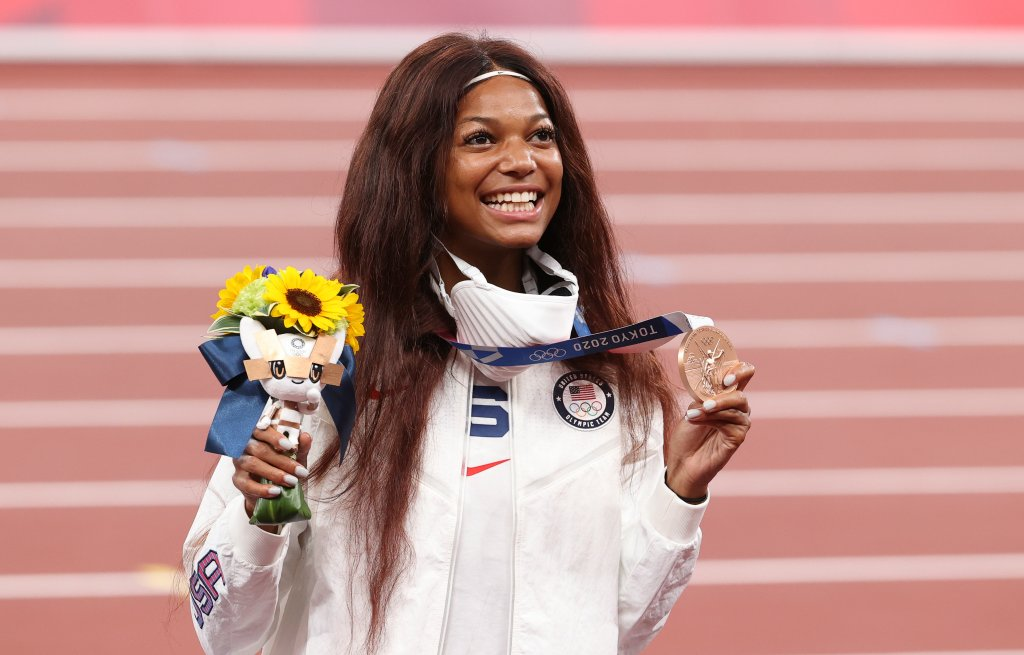 Bronze Medalist Gabrielle Thomas of USA during the medal ceremony of the Women's 200m Final on day twelve of the athletics events of the Tokyo 2020 Olympic Games at Olympic Stadium on August 4, 2021, in Tokyo, Japan.