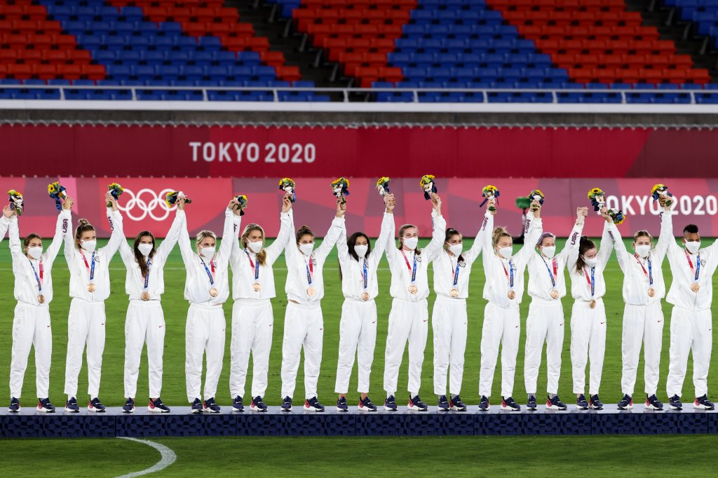Players of United States attend the award ceremony of the Olympic Women's Football gold medal match between Sweden and Canada at International Stadium Yokohama on Aug. 6, 2021, in Yokohamain, Kanagawa, Japan.