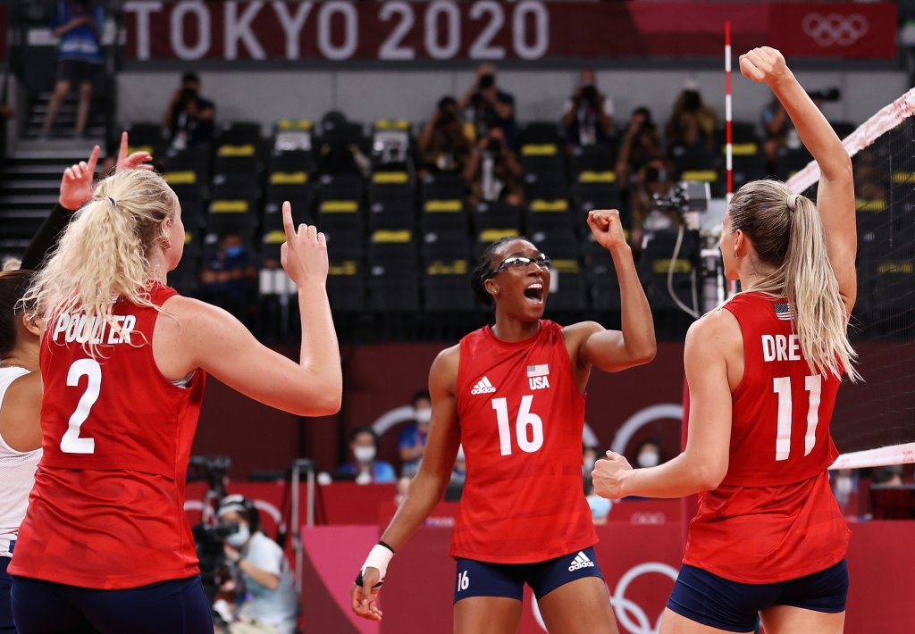Foluke Akinradewo #16 of Team United States reacts with team mates as they compete against Team Brazil during the Women's Gold Medal Match on day sixteen of the Tokyo 2020 Olympic Games at Ariake Arena on Aug. 8, 2021, in Tokyo, Japan.