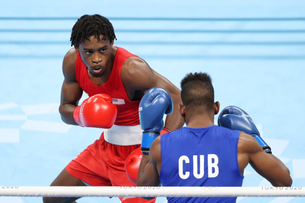 Keyshawn Davis of Team United States in action during the Men's Light (57-63kg) Final bout between Keyshawn Davis of Team United States and Andy Cruz of Team Cuba on day sixteen of the Tokyo 2020 Olympic games at Kokugikan Arena on Aug. 8, 2021, in Tokyo, Japan.