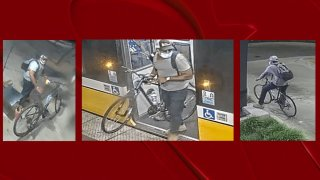 Police are looking for the man seen with his bicycle at a DART station in downtown Dallas. The man is accused of wounding another man in a shooting on July 19.