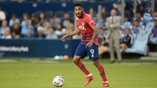 FILE: Jesus Ferreira #9 FC Dallas with the ball during a game between FC Dallas and Sporting Kansas City at Children's Mercy Park on July 31, 2021 in Kansas City, Kansas.