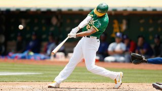 Matt Olson #28 of the Oakland Athletics hits a two-run double in the bottom of the third inning against the Texas Rangers at RingCentral Coliseum on Aug. 7, 2021 in Oakland, California.