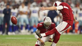 Kicker Matt Prater #5 of the Arizona Cardinals kicks a 48-yard field goal against the Dallas Cowboys during the second half of the NFL preseason game at State Farm Stadium on Aug. 13, 2021 in Glendale, Arizona. The Cardinals defeated the Dallas Cowboys 19-16.