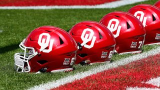 Oklahoma Sooners helmets sit next to the end zone before their spring game at Gaylord Family Oklahoma Memorial Stadium on April 24, 2021 in Norman, Oklahoma.