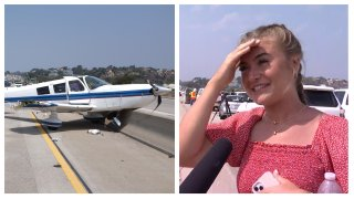 Left: The Piper PA-32 aircraft that landed on Interstate 5 on Tuesday, Aug. 24, 2021. Right: Sarah Tribett of Austin, Texas.