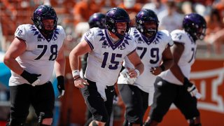 Max Duggan #15 of the TCU Horned Frogs celebrates after rushing for a touchdown in the fourth quarter against the Texas Longhorns at Darrell K Royal-Texas Memorial Stadium on Oct. 3, 2020 in Austin, Texas.