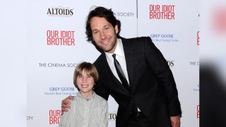 """Actors Matthew Mindler and Paul Rudd attend The Cinema Society & Altoids screening of The Weinstein Company's """"Our Idiot Brother"""" at 1 MiMA Tower on August 22, 2011 in New York City."""