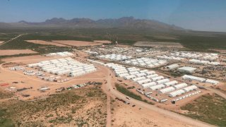 Aerial view of an area of Fort Bliss Army base in Texas