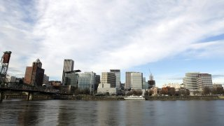 In this Dec. 13, 2014 file photo the Portland skyline is visible on the west bank of the Willamette River in Portland, Ore.