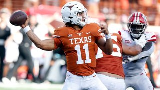 University of Texas Long Horns quarterback Casey Thompson (11) makes a throw during the game against the Louisiana - Lafayette Ragin Cajuns on Sept. 4, 2021, at Darrell K Royal - Texas Memorial Stadium in Austin, Texas.