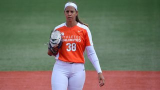 Cat Osterman #38 of Team Warren prepares to pitch in the first inning against Team Fagan at Parkway Bank Sports Complex on Aug. 29, 2020 in Rosemont, Illinois.