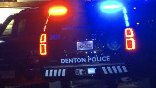 Denton police SUV outside an apartment complex.