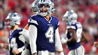 Dak Prescott #4 of the Dallas Cowboys looks on during the fourth quarter against the Tampa Bay Buccaneers at Raymond James Stadium on Sept. 9, 2021 in Tampa, Florida.
